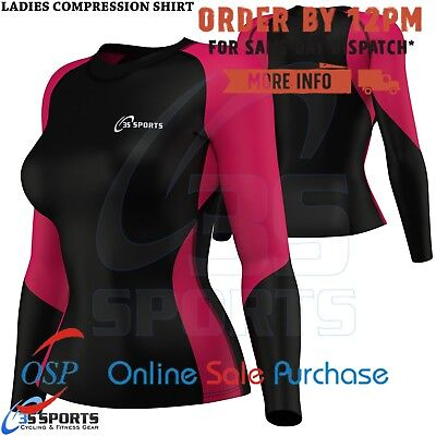 Women Long Sleeves Compression T-shirts Tops Shirts Base Layer Tight PINK