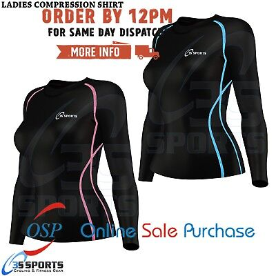 Women Long Sleeves Compression T-shirts Tops Shirts Base Layer Line Design