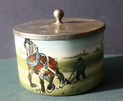 Vintage Shaving Pot-Jar With Metal Lid-Farmer-Hand Plow and Clydesdale Horse
