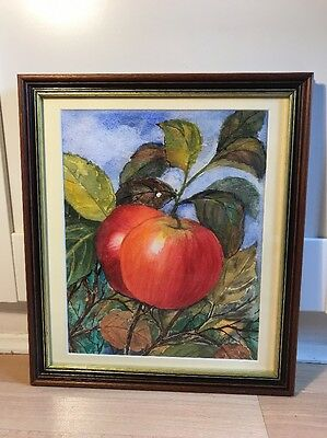 Lovely Watercolour Painting Of Apple In Wood Frame