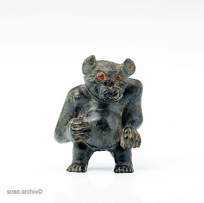 Demon Soapstone Inuit Native Type Greenland Demonic Figure Soapstone midcentury