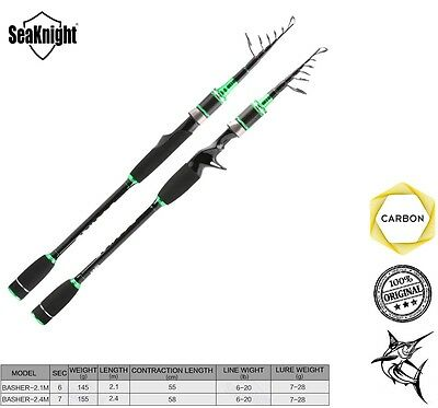 SeaKnight BASHER Fishing Rod Carbon Fiber Spinning Casting Telescopic 2.1 2.4 m