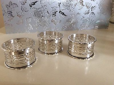 3 silver plated napkin rings