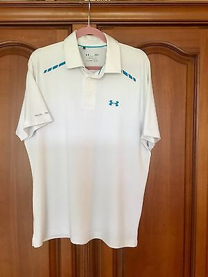 Under Armour Men's White Golf Polo Shirt Used Size Large