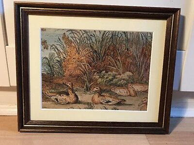 Charming Victorian Watercolour Painting Of Ducks In Wood Frame.