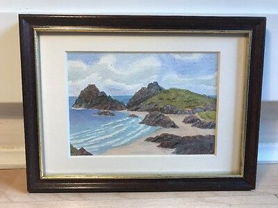 Charming Watercolour Painting Of Coastal Scene In Wood Frame