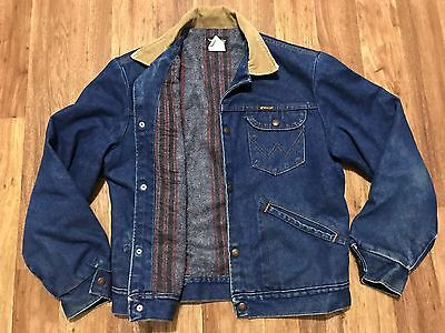 Vtg 70s Wrangler Denim Blanket Quilt Rancher Trucker Snap Jean Jacket 40 USA