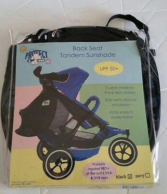 Protect a Bub Back Seat Tandem Sunshade Phil Ted Strollers Black tie on UPF 50+
