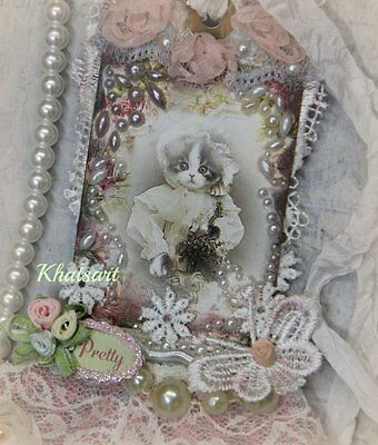 SHABBY CHIC VINTAGE CAT * Hand Crafted Ornament, Gift Tag - Elite4u By Khatsart