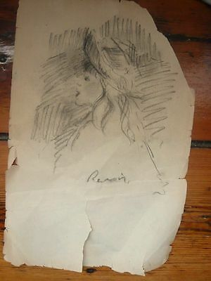 Renoir original charcoal drawing