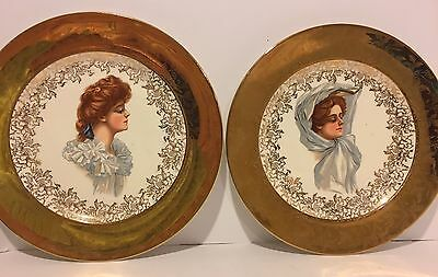 2 Antique Portrait Plates, Different Women With Gold Band. No Mark 10 Inches