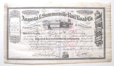 Augusta & Summerville (Georgia) Railroad Stock Certificate 1890