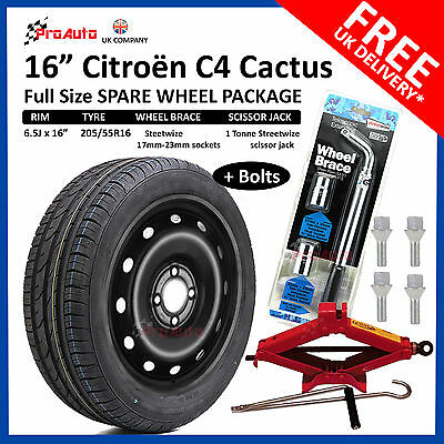 "CITROEN DS3 2010-2018 SPACE SAVER SPARE WHEEL 16/"" LIFTING JACK ref:801 BOLTS"