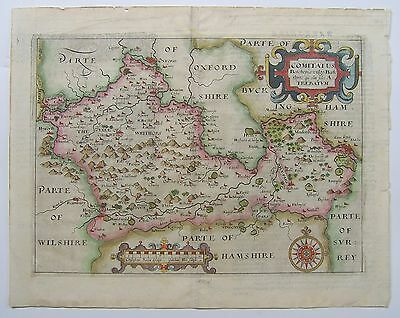 Berkshire: antique map by Saxton & Hole, 1607 (1st edition)