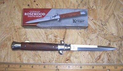 "KRIEGAR German ROSEWOOD Stiletto Folding Pocket Knife 3-1/2"" Blade DC223A"