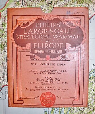 1914 Philips Large Scale Strategical War Map of Europe Southern Area ww1 folding