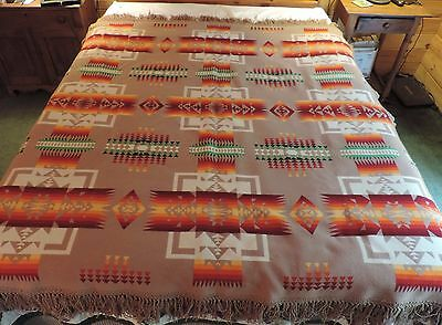 Vtg 20s Pendleton Beaver State Fringed Blanket Robe Native American Indian