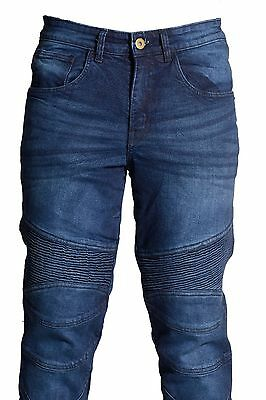 ES Mens Motorcycle Motorbike SLIM JEANS STRETCH DENIM Trousers Protective Lining