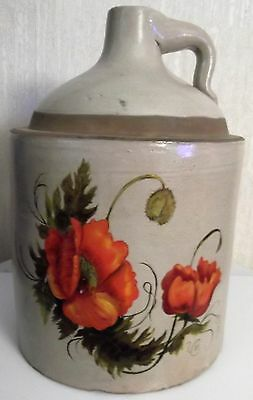 OLD STONEWARE CROCK JUG with HAND PAINTED FLOWERS - 1 GAL.