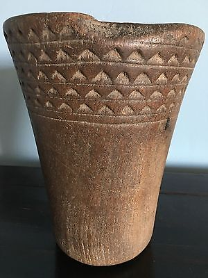 PRE-COLUMBIAN HAURI CARVED WOOD KERO, Beer Cup