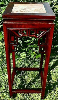 19th Century Chinese Carved Redwood Display Table.