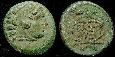 MORTOWN  Philip V (187BC) Bronze AE14mm Hercules w/ Lion Headdress + Inscription