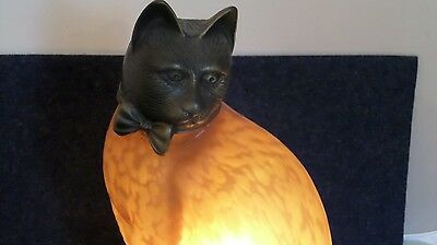 RARE Vintage 1996 Tin Chi Bronze Cat Lamp Night Light with Amber Glass