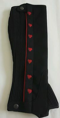 Half Chaps / Gaiters with red love hearts. Made from Amara. Size small.