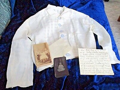 1880s Set -Identified Boy -Photo + Baby Tintype -Antique Shirt + China Buttons