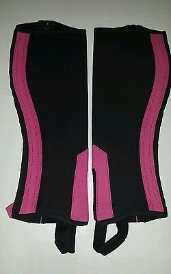 Half Chaps / Gaiters with pink stripe from premium quality Amara. Size small.