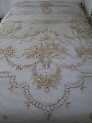 "ANTIQUE TAMBOUR EMBROIDERED FRENCH NET LACE COVERLET FLOWER BASKET 88""x113"""