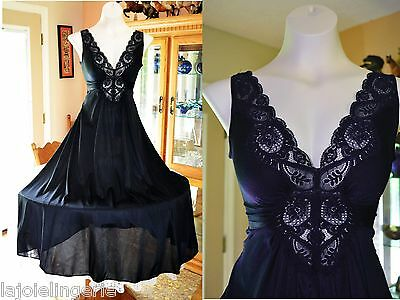 VTG Olga Black Lace Spandex Nightgown Huge Sweep Medium Small