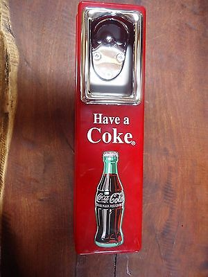 Vintage 1997 COCA COLA WALL MOUNTED BOTTLE OPENER and CAP CATCHER