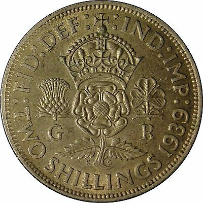1939 Great Britain Silver Florin Two Shilling