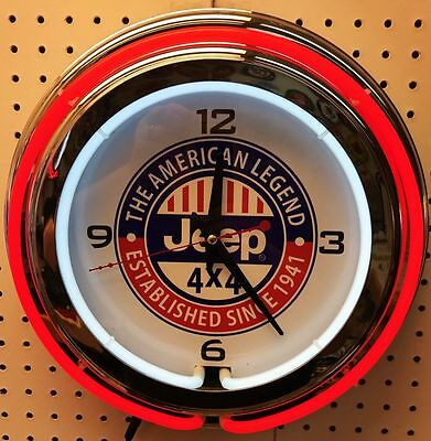 """15"""" Jeep Sign Double Neon Clock The American Legend"""