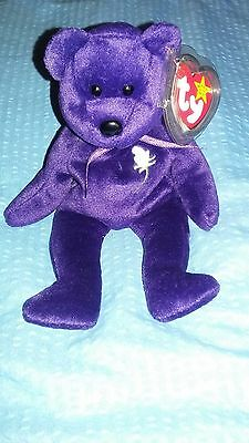 Ty Beanie Baby Rare Princess Diana Bear 1997 PVC Pellets Mint condition