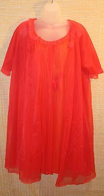 Vintage Vanity Fair 2pc Orange Cissy Nightgown & Sheer Robe Set - sz Small
