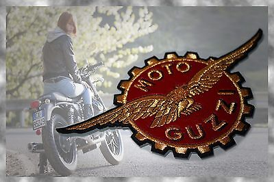 Moto Guzzi Gold Eagle Large Leather Embroidered Sew Or Iron Patch Made In Italy