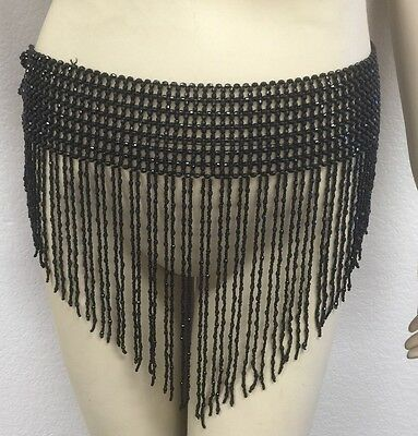 Bead Belly Dance Dancer Samba Costumes Hip Scarf Skirt Elastic Belt - Black