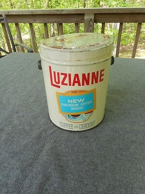 Vintage 3 lb Luzianne Coffee & Chicory Advertising Tin New Premium Offer Inside