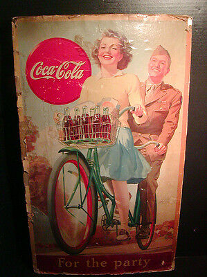 "RARE WWII Era COCA-COLA Advertising Sign / Poster ""For the Party"" G.I. Bicycle"