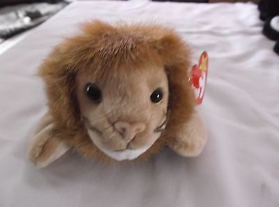 Nwt 1996 Ty Beanie Babies Baby Roary Lion Jungle Cat Mwmt Tag Protector