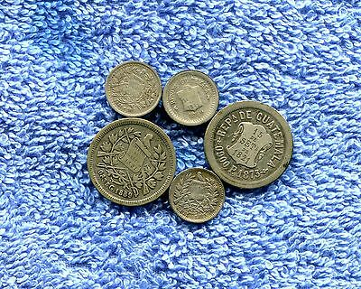 Guatemala Lot Of 5 Old Silver Coins Nr 17.95