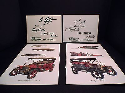Two Sets of Antique Automobile Prints from Cities Service Oil Co.