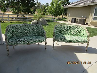 OMG!  FABULOUS RARE OLD Pair of 2 Antique French settee settees Petite Sofas