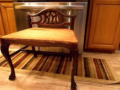 Antique Carved Mahogany Vanity Bench / Chair