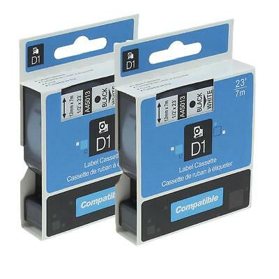 Compatible for DYMO A45013 D1 Office Cassette Label Tape Black on White 12mm 2pk