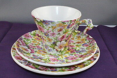 "James Kent Trio Old Foley Cup Saucer and Side Plate ""Du Barry Chintz Floral"""