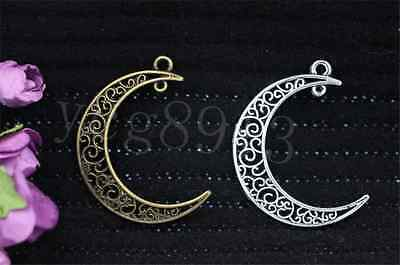5/20/100pcs Antique Silver Beautiful Moon Jewelry Finding Charm pendant 40x30mm