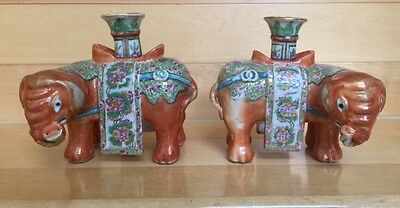 Chinese Export Porcelain Fine Pair of Elephant Candlesticks Mid 19th Century.